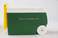 31L plastic camping cooler box with handle and wheels