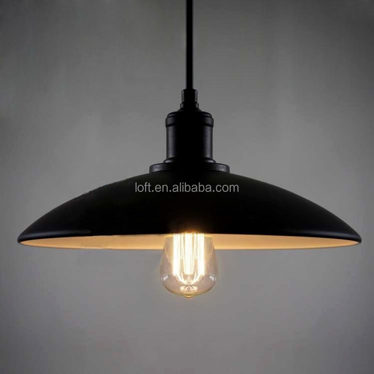 Industrial vintage umbrella shaped pendant light black/white hanging wire chandelier