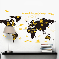 Custom creative removable living room classroom construction map wall sticker for home decor