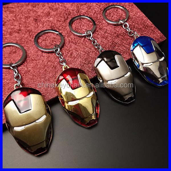 Promotional stainless steel Iron man mask keychain