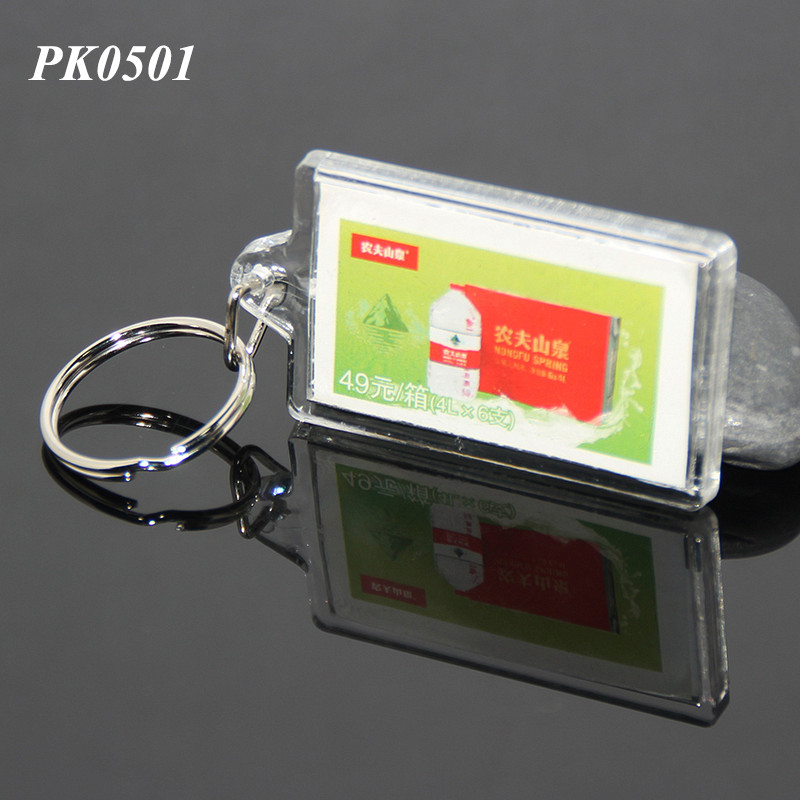 Wholesale Promotional Rectangle Shaped Custom Insert Printing Logo Bulk Acrylic Plastic Keyring