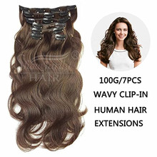 100 human hair extensions wholesale indian remy hair piece clip ins dark brown body wave double weft clip in hair extensions