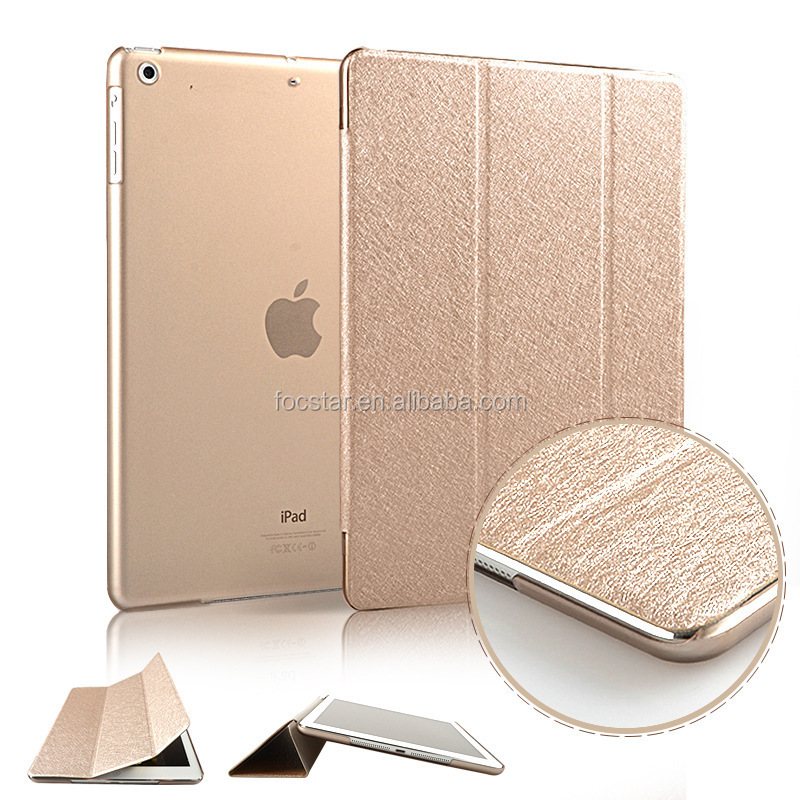 New Arrival Smart Cover for iPad Mini 4, Silk Pattern Tri-Folding Stand Leather Case Cover for iPad Mini 4