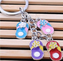 colorful small slippers shoe designer key chain hang tag