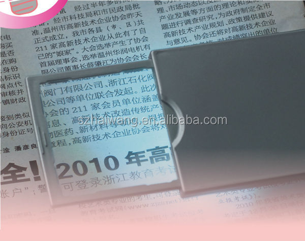 HW212N Chrismas promotional 86*54mm led magnifier glass with logo printing