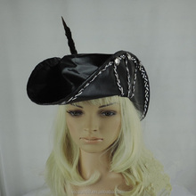 pheasant fur black leather caribbean pirate hat