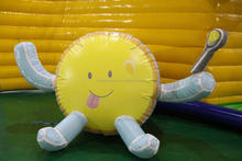 Advertising cute Giant yellow inflatable big smiling face inflatable model with spoon for sale