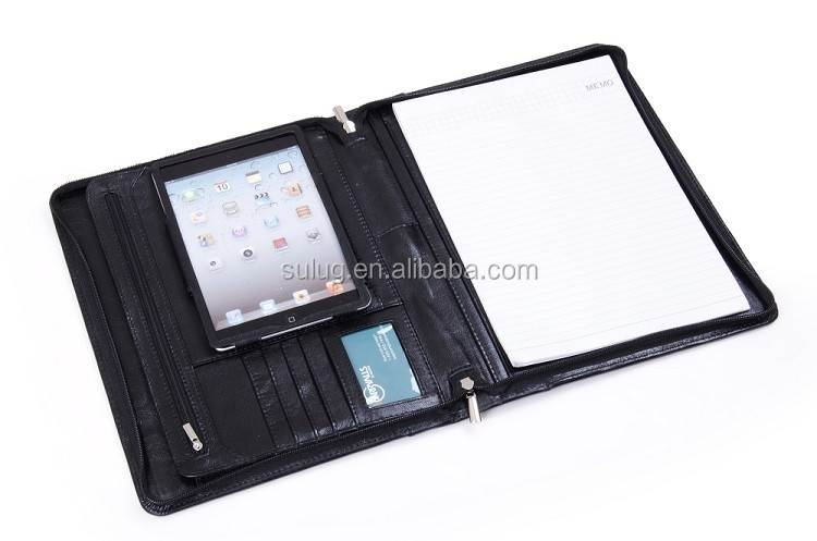 Modeling leather portfolio case for ipad mini with pen and crad slot