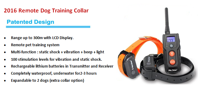 2016 Rechargeable Remote Training Dog Shock Collar For Humans Dog Slave Shock Collar E-collar Electric Dog Collar China PTS018