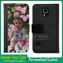 Newest factory price custom flip leather phone case for samsung s5