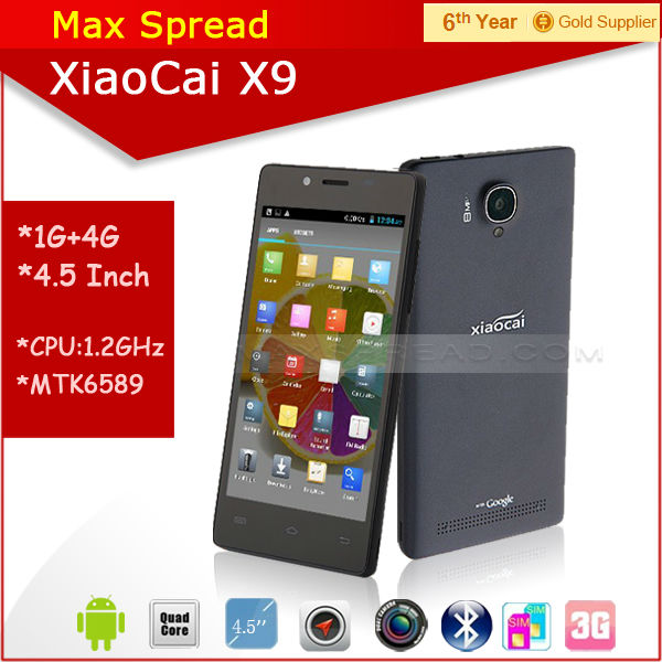 Hot sales! cheapest 5 inch MTK6582 quad core Xiaocai X9 3g wifi big screen dual sim mobile phones
