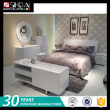2016 more popular new model customize size white lacquer bedroom set furniture