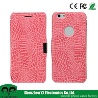 crocodile pu leather flip smart mobile phone wallet case for iphone 6