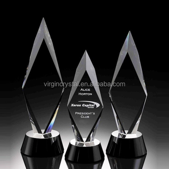 Laser engraved blank K9 crystal diamond shape trophy cristal award