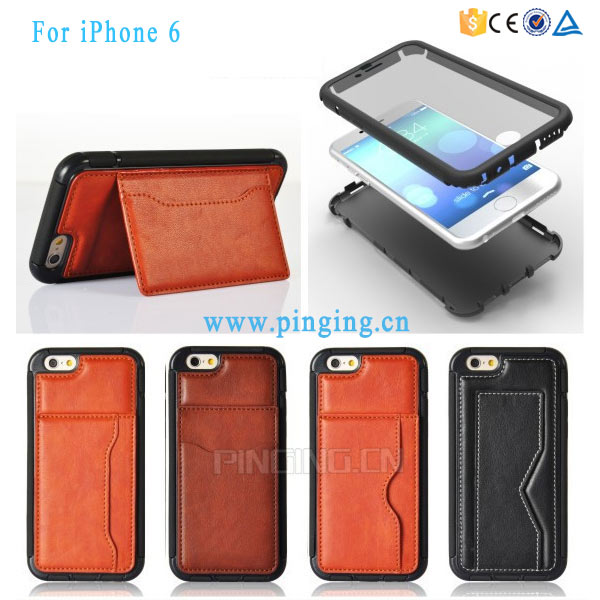 2016 China Supplier New 3 In 1 PET Touch Screen Protective Cover TPU + PU Wallet Card Slot Pocket Kickstand Case For iPhone 6S