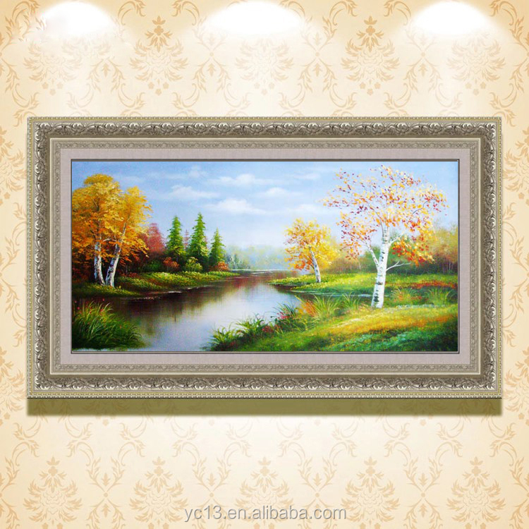 hot selling modern decor chinese scenery landscape art canvas framed oil painting on canvas ct-30