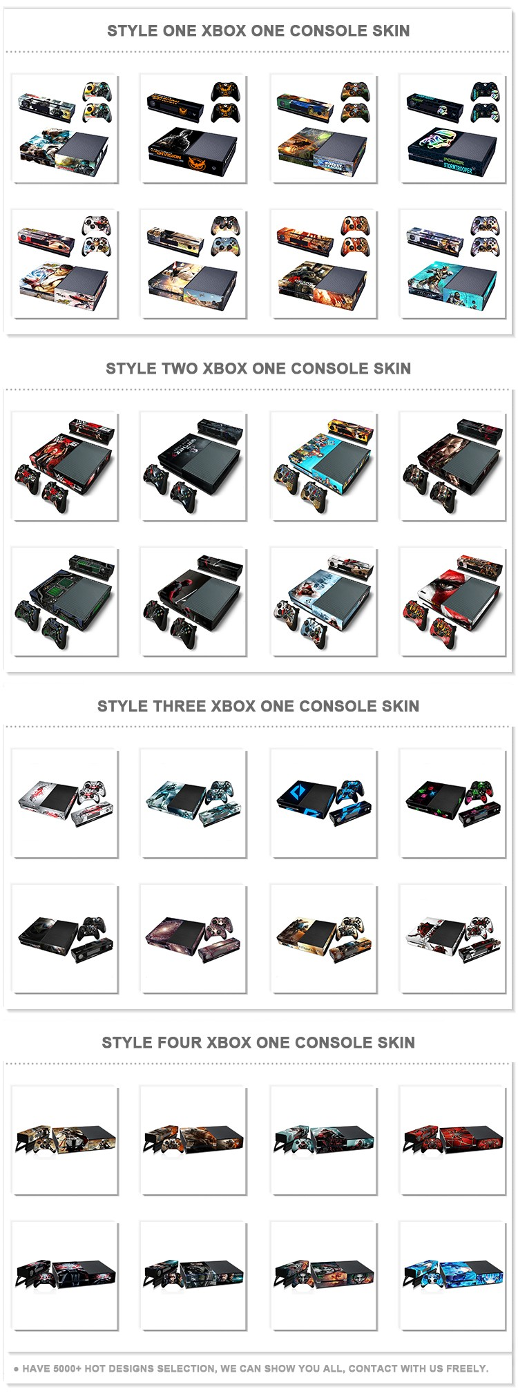 Ebay hot selling skin for xbox one console & controller decal sticker