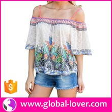 White floral off shoulder half sleeve sexy fashion blouse for women bangkok
