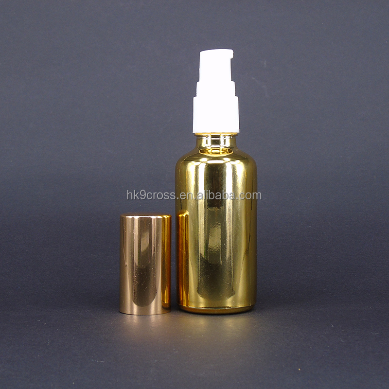 30ml gloden color glass fragrance air diffuser bottle with spray pump cover for perfume