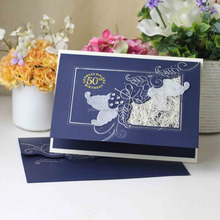 Dark Blue Handmade Unique Design Wedding Invitation <strong>Card</strong>