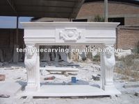 indoor home carving white natural marble stone fireplace mantel frame sculpture