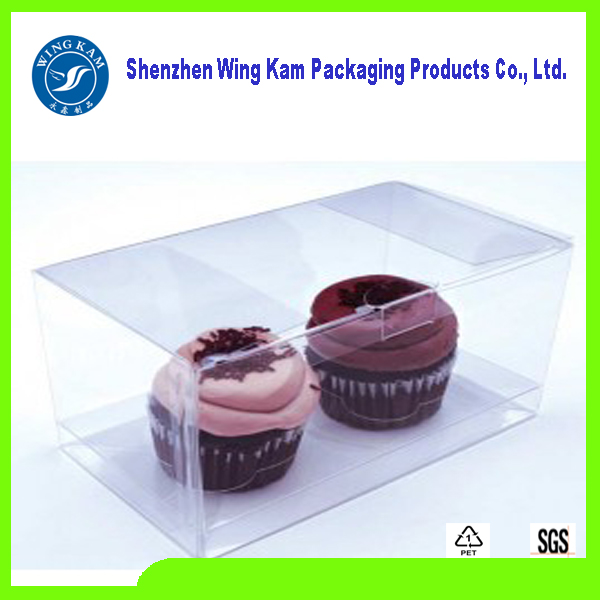 transparent food grade plastic cupcake boxes packing and Higher transparent PET remarkable soft crease packaging on sale