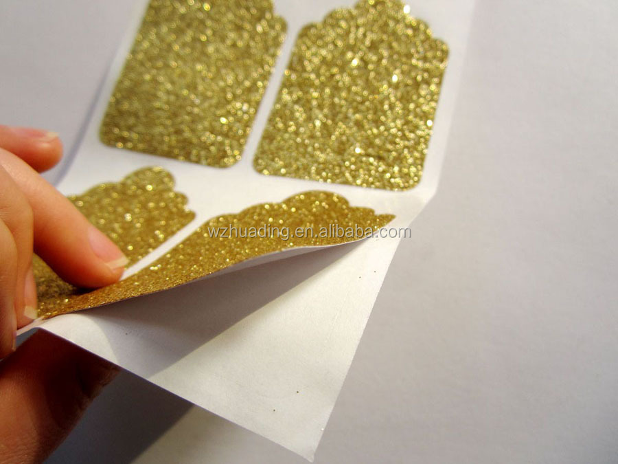 Good quality colorful adhesive glitter powder paper sticker