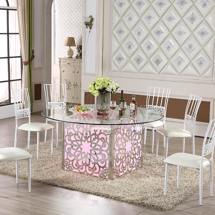Glass top Stainless steel Square LED wedding dining table
