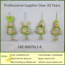 2016 Handmade Craft Hanging Green Sack Easter Sheep/Easter Rabbit/Easter Chicks Small Cute Decorative Easter Decoration