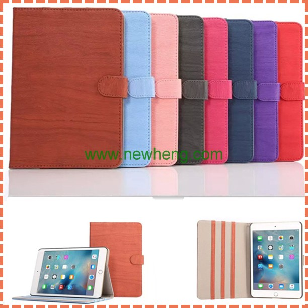 wood pattern Foldable wallet Stand Leather Case Smart Cover For Ipad Mini 4