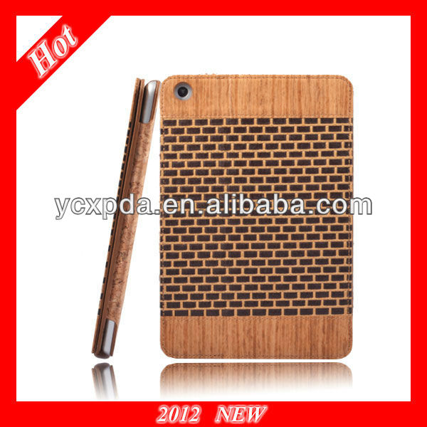 New product! Special Natural material Flip case for tablet PC iPad mini,straw mat material