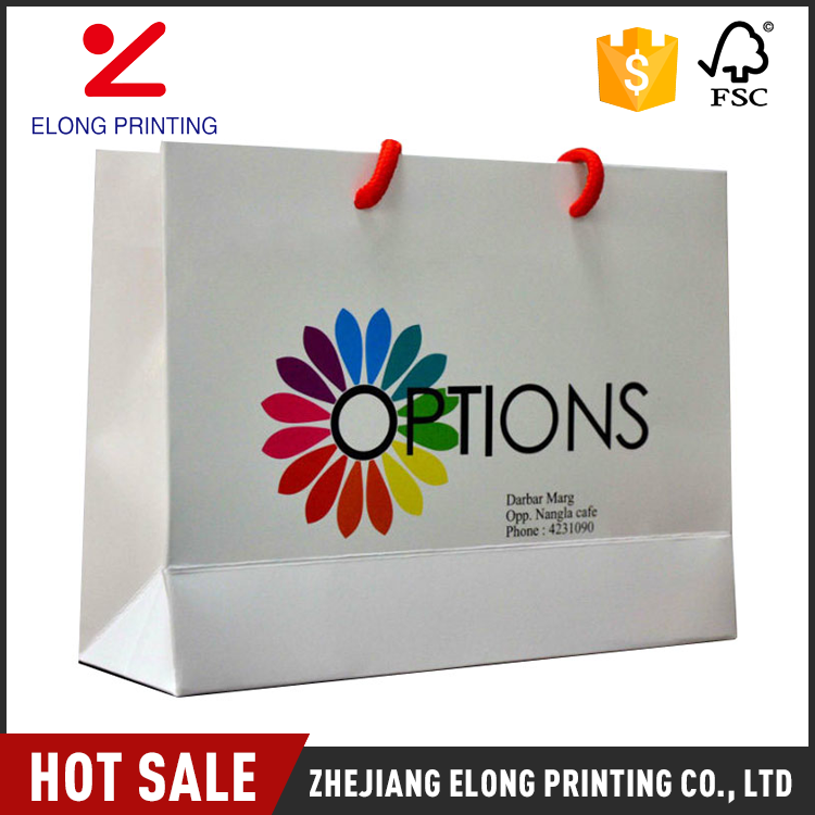New arrival custom design white paper shopping kraft bags with your own logo