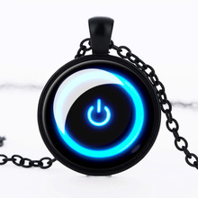 fashion jewelry 2017 Vintage Power Key Time Gemstone Necklace Alloy Pendant Sweater chain