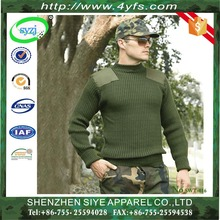 Military green pullover wool sweater in mens wool pullover