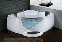 Fiberglass massage bathtub, Double 2 persons Whirlpool massage corner bathtub