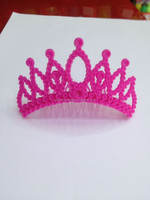 2016 New Arrival Cheap Mini Party Tiara Hot Pink For Party Girl Decoration