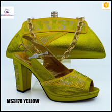 YELLOW African Women Bags And Shoes For Wedding 10cm Heels Rhinestones Good Quality 2016 Latest Italian Shoes With Matching Bags
