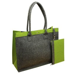 Bz2078 Two peice a set color matched felt women bags