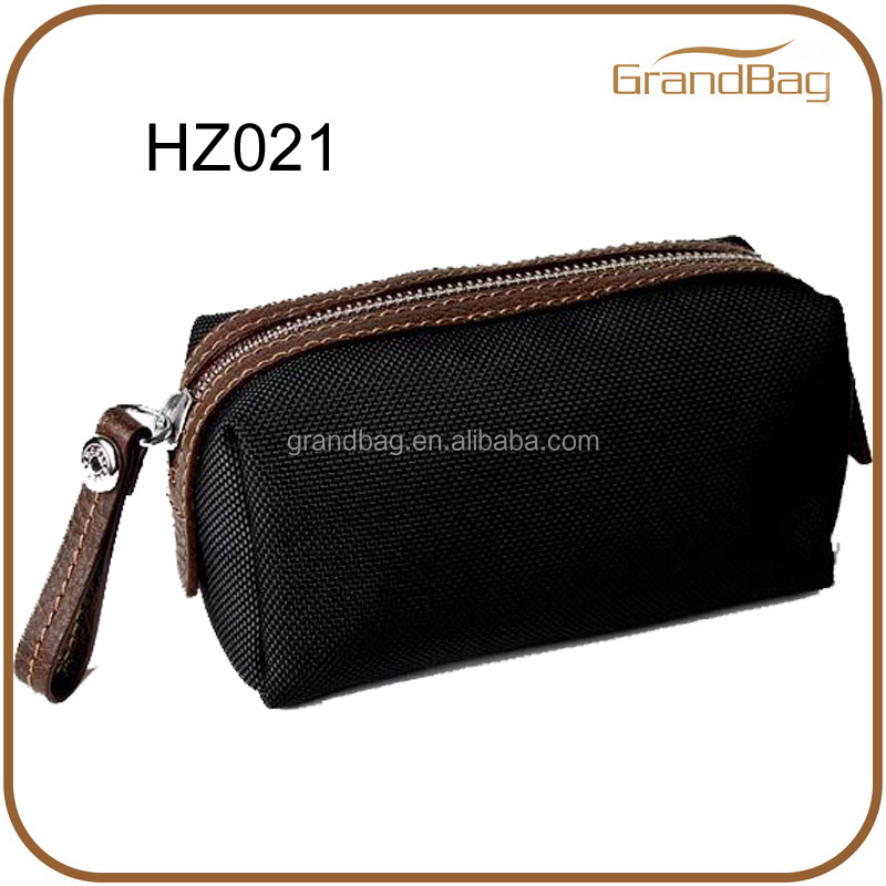 2014 new fashion nylon and leather cosmetic pouch bag / portable cosmetic bag / makeup bag