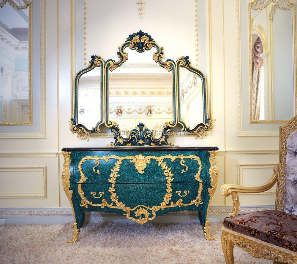 Latest Design Fabulous Louis XV Peacock Green Commode Sideboard Cabinet With 24K Gold Plated Brass New Classic Wooden Cupboard