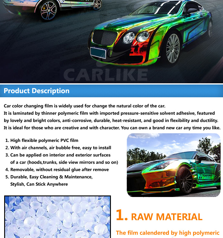 CARLIKE Colorfull Decoration Vinyl Car Body Sticker Chrome Holographic Rainbow Film