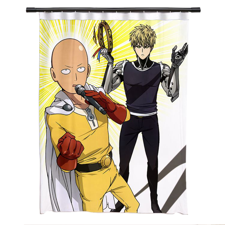 New Saitama and Genos - One Punch Man Anime Japanese Window Curtain Door Entrance Room Partition H0490