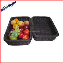rectangular PP rattan display basket in supermarket
