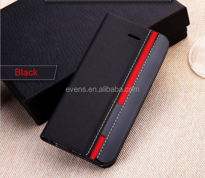 Contrast color Fashion PU Leather Wallet Flip Mobile Phone Case Cover For Blackberry 9790