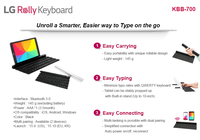 Tablet/Smartphone bluetooth keyboard rollable