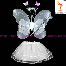 Hot Sale Sweet Cosplay Costume Fairy Girl Kid Butterfly Wing Wand Headband Dress 4pcs /Set