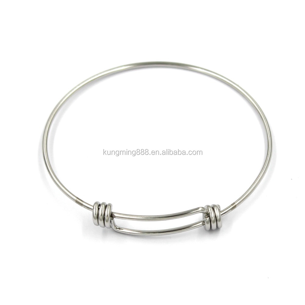 Stainless Steel Jewelry Wholesale Expandable Charm Bangle Bracelet