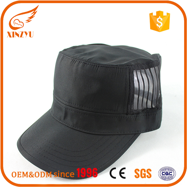Promotional mens military hard hat polyester mesh black military caps hats