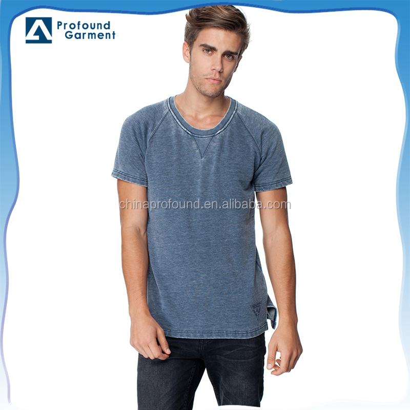 OEM blank enzyme washed t shirt/ v stitches short sleeve cotton vintaged t shirts for men