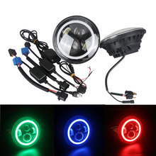 Offroad J eep 4x4 12V Auto 7inch Jeep RGB Halo Ring Led Headlight